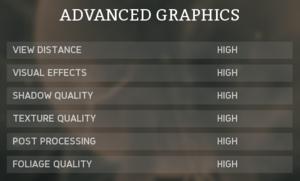 Advanced graphics settings.