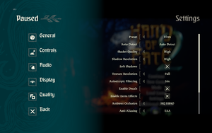 In-game quality settings (1/2).