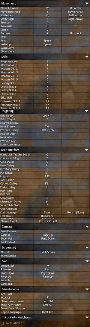 Keybindings settings menu.