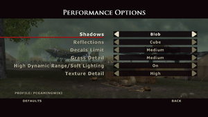 In-Game performance settings.
