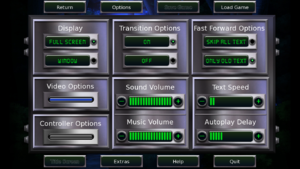 In-game general options menu.