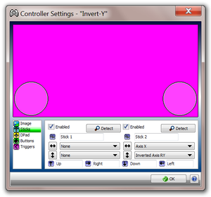 Xpadder invert y-axis settings.