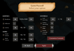 General settings from pause menu.