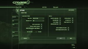 In-game general settings (Crysis Wars).
