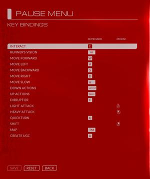In-game key rebinding.