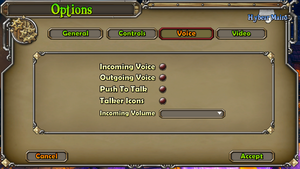 In-game voip settings.