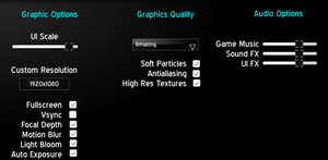 Options available through the main menu.