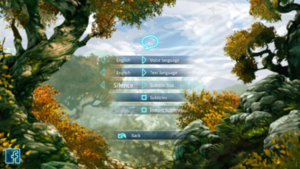 In-game language and subtitle settings