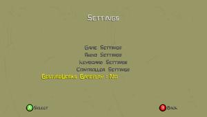 Options menu showing Gestureworks option.
