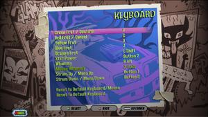 Keyboard configuration screen