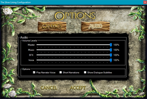 Launcher audio settings accessed through <path-to-game>\TSLConfig.exe.