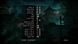 Remappable controls menu.