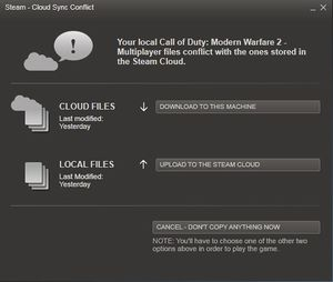 Steam Cloud - cloud sync conflict.