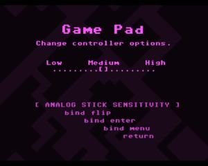 Game pad[sic] input settings.