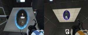 Two players work together in Valve's Portal 2 using the game's split-screen feature.