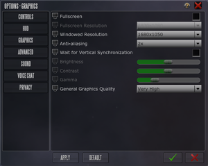 Graphical options.