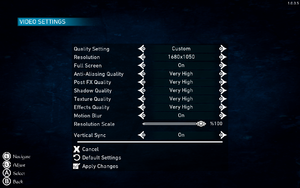 In-game video settings