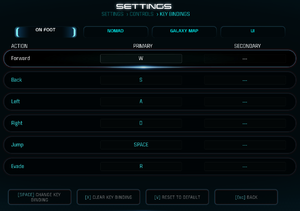 Bindings settings