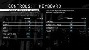 Keyboard movement configuration.