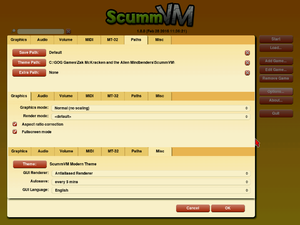 General settings for ScummVM, the emulator included in the GOG edition. It is also available for free download from the ScummVM Team's official website.