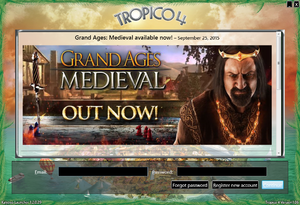 Game launcher, requiring either logging or registering to Kalypso account.