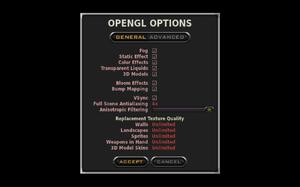 In-game general OpenGL settings.