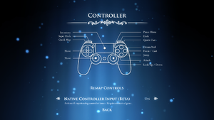 In-game controller settings for DualShock 4.