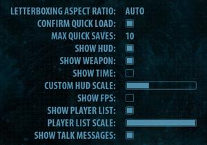 In-game advanced settings.
