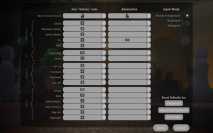 Mouse and keyboard control defaults.