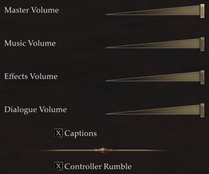 Audio and input settings.