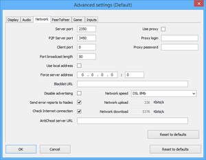 Launcher network settings.