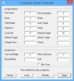 Launcher joystick button/axis map settings.