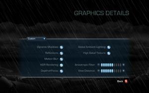 Graphics details settings.