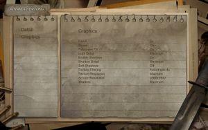 Condemned's graphics settings menu.