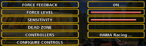 Input settings.