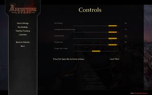 In-game Tobii Eye Tracking settings.