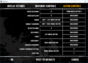 External action commands key map settings.
