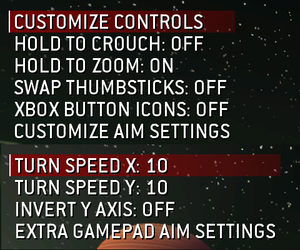 Control and sensitivity options.
