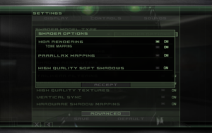 In-game shader settings (Shader Model 2 and 3 only).