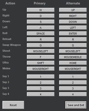 Outside of game key bindings options.