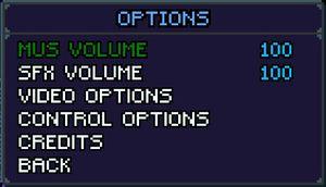 Main option menu and audio settings