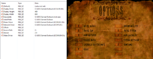 On the left, the Outlaws Registry; on the right, in-game general settings.