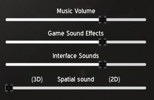 In-game audio options.