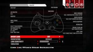 Controller settings.