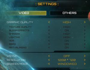 Video options.