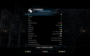 In-game key/button map settings.