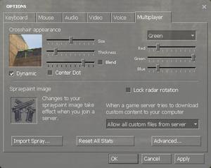 In-game general multiplayer settings.