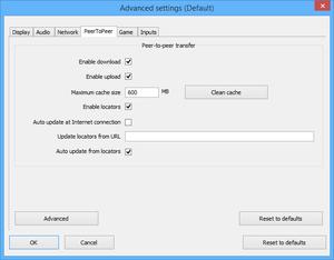 Launcher Peer-to-Peer (P2P) settings.