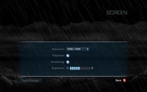 Screen settings.