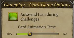 Card gameplay settings.